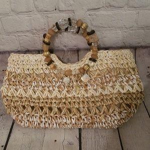 NWOT CAPPELLI straworld jewel & bead straw purse
